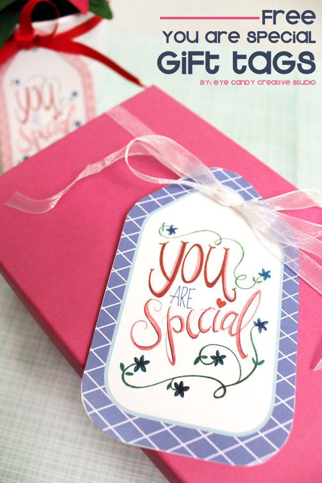 freebie, free gift tags, you are special, hand lettering, flowers, hand drawn