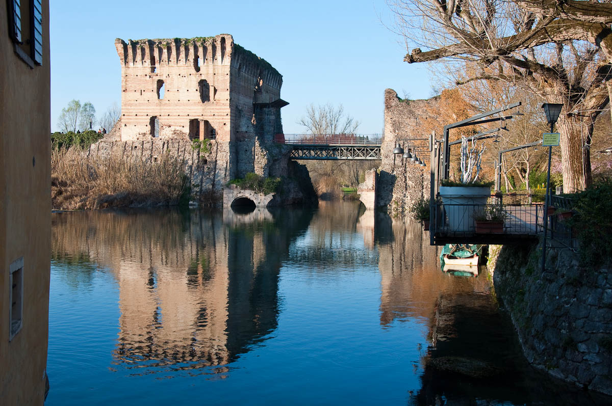 The Scaligeri bridge seen from the old mills, Borghetto, Veneto, Italy