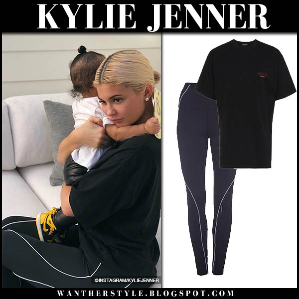 Kylie Jenner in black balenciaga tee and black leggings good american casual home style october 7