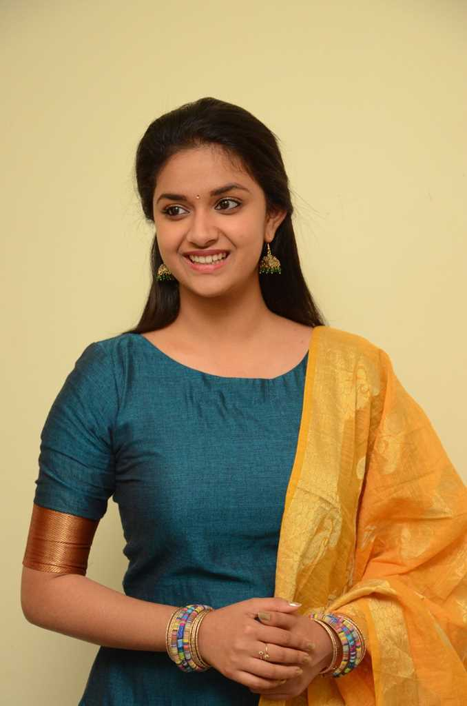 Tollywood Actress Keerthy Suresh Hot Photos In Green Dress At Movie Launch