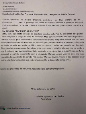 Denúncia de Zuleide Oliveira ao TRE-MG