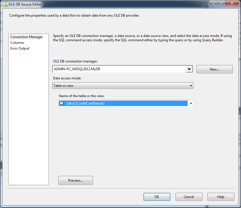 Configure OLE DB Source