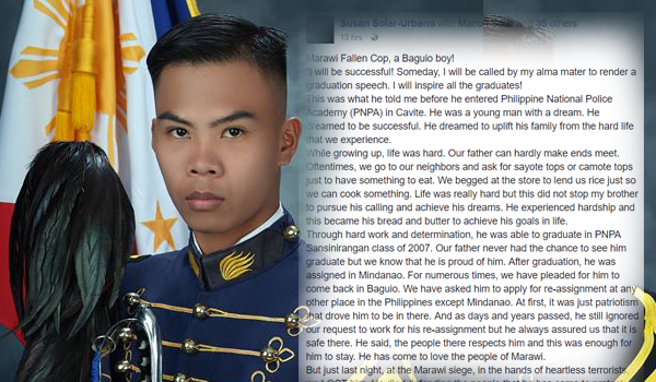 Surely, you will cry after reading this message of a sister to his Marawi fallen cop brother
