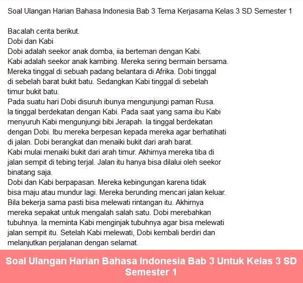 Tema Kerja Sama Soal Ulangan Harian Bahasa Indonesia