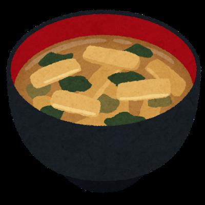 油揚げのお味噌汁のイラスト
