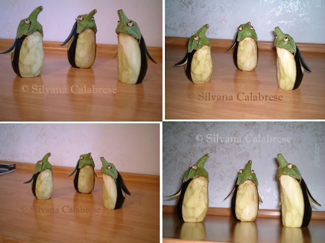 Carvings penguins with eggplant aubergine Loving San Francisco
