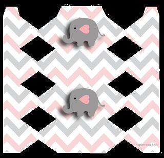 Cajas de Elefante Bebé en Rosado y Gris para imprimir gratis.
