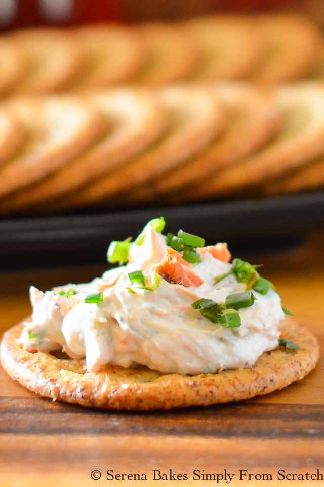 Dill Smoked Salmon Dip is easy to make and so good! serenabakessimplyfromscratch.com