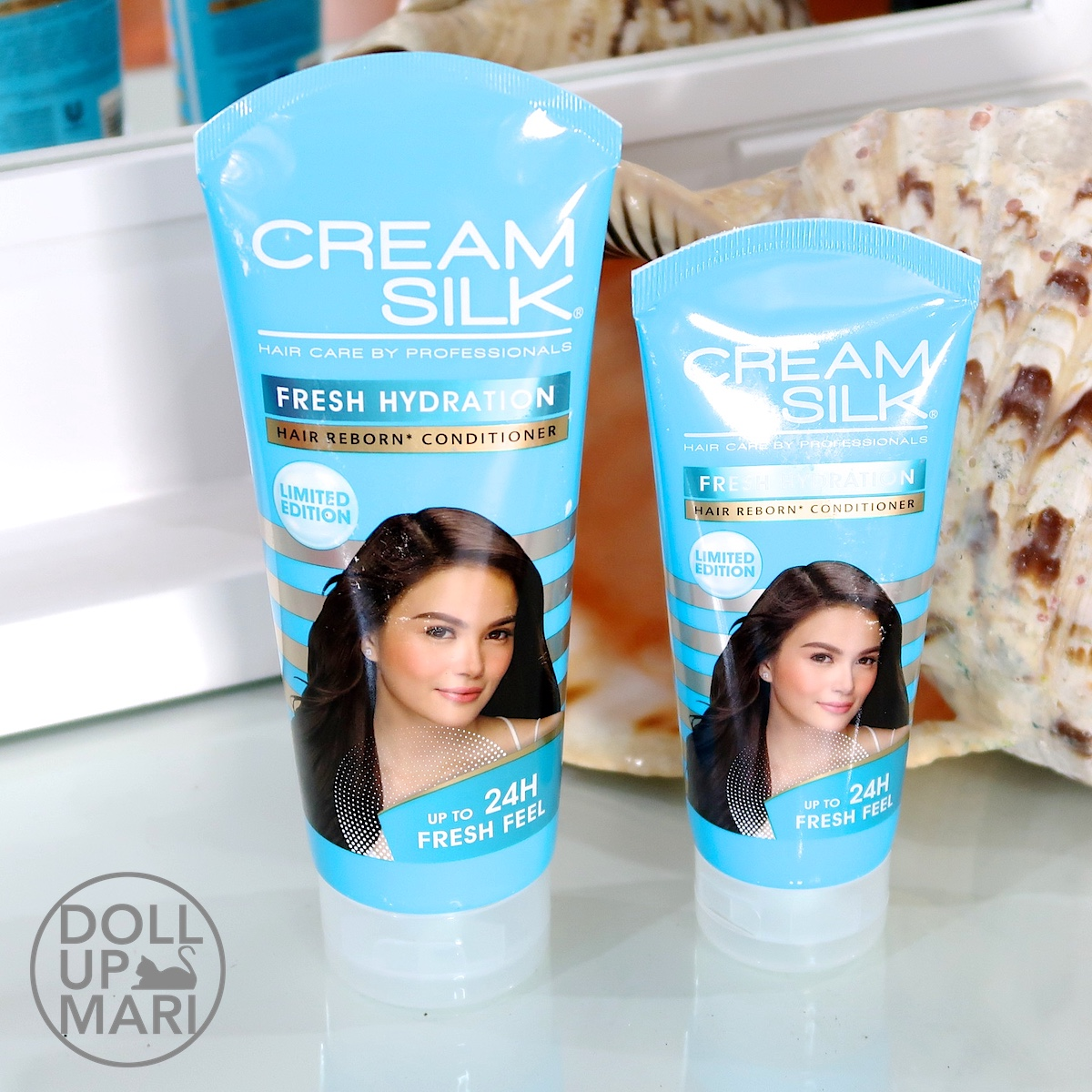 Cream Silk Fresh Hydration Conditioner Comparison Photo of 170mL and 340mL Pack Shots