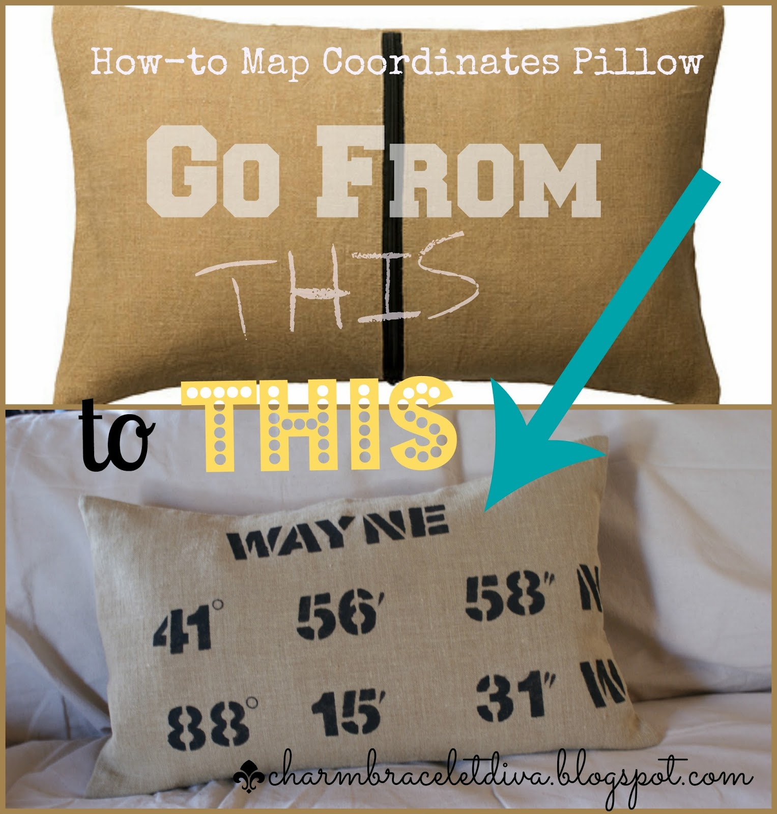 Before and after map coordinates pillow
