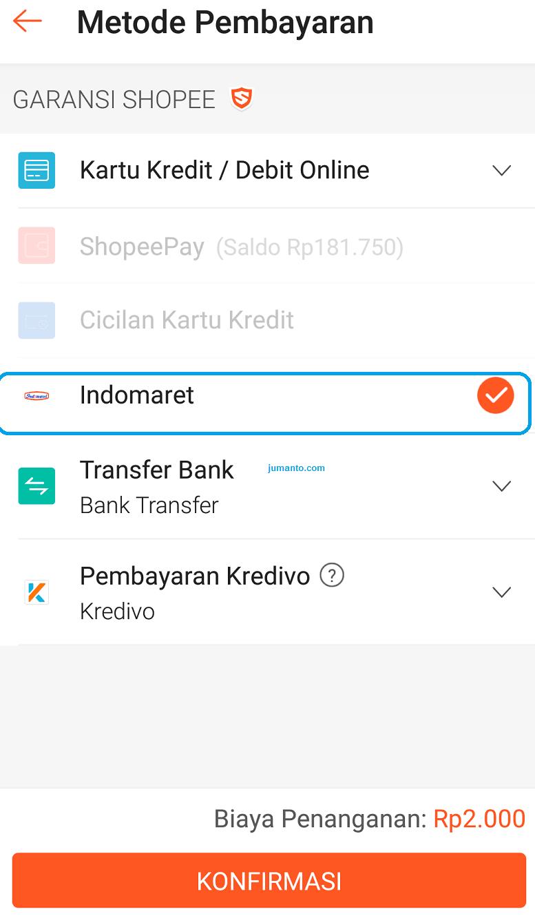 Cara Membayar Shopee di Indomaret terbaru