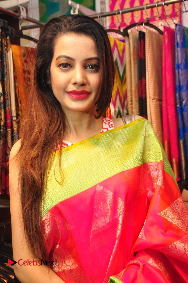 Deeksha Panth Stills in Pink Long Dress at Trendz Exhibition Launch