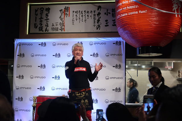 Shigemi Kawahara, the Ramen King, speaks at the San Francisco Ippduo opening.