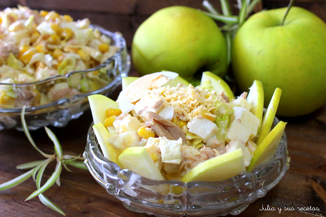 Ensaladilla de manzana con atún. Julia y sus recetas