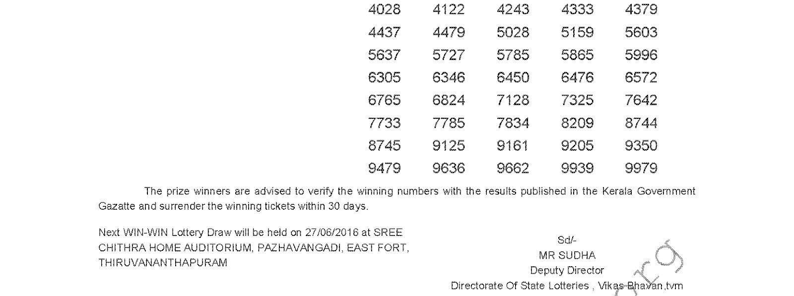 WIN WIN W 365 Lottery Results 20-6-2016