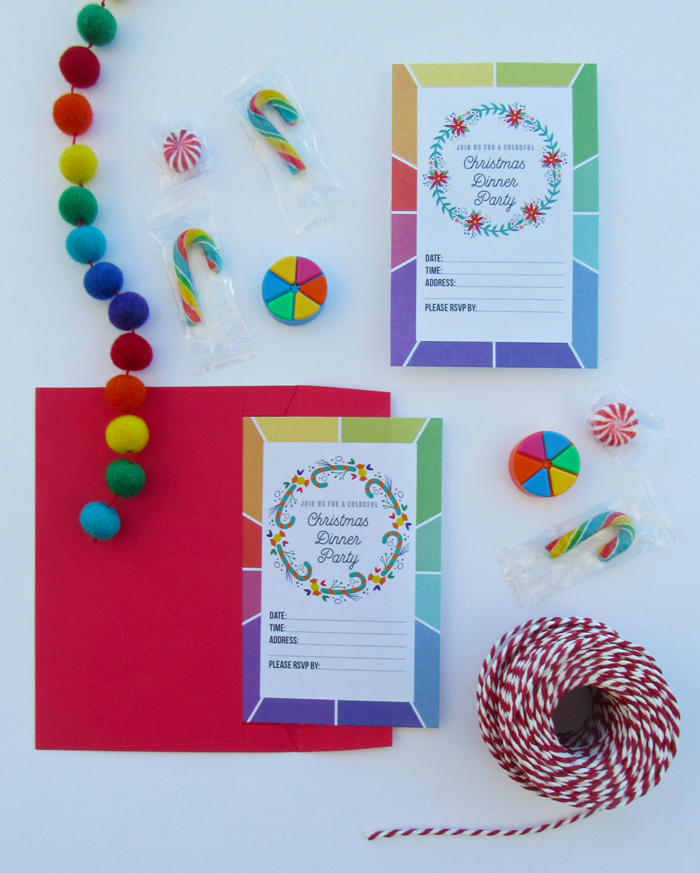 Free printable color wheel inspired Christmas dinner party invitations, color love, entertaining, holidays