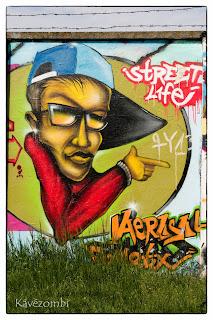 sapkás alak graffiti Szegeden a körtöltésen