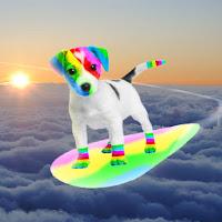 El perro arcoíris sonríe en Cice surfeando las nubes en un arcoíris