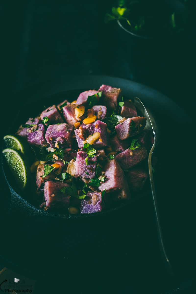 Easy farali ratalu known as purple yam prepared with roasted peanuts and lightly spiced which is ideal to eat whilst Hindu fasting.