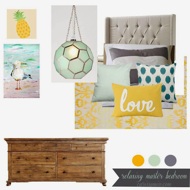 Yellow & aqua bedroom mood board