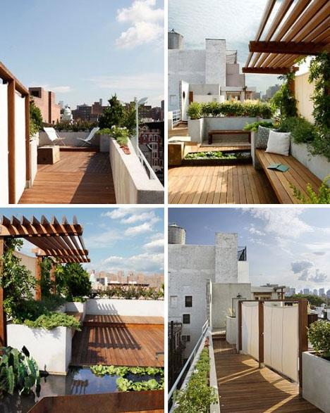 Flores y plantas en decoraciones de terrazas en New York - Decoracion De Terrazas Con Plantas