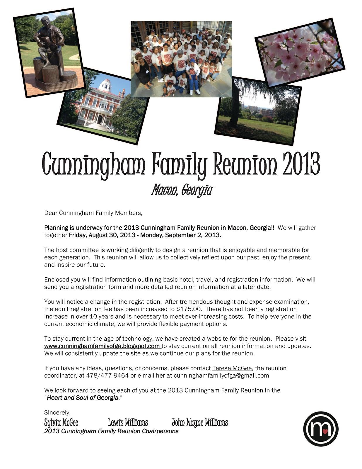 Cunningham Family Reunion 2013: Family Reunion Information ...