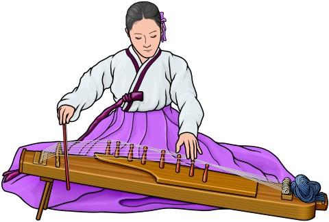牙箏を演奏する女性 (アジェン ajaeng)