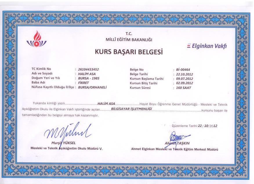 Meb bilgisayar işletmenlik sertifikası