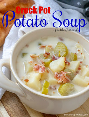 Crock Pot Potato Soup recipe just like Grandma's from Served Up With Love