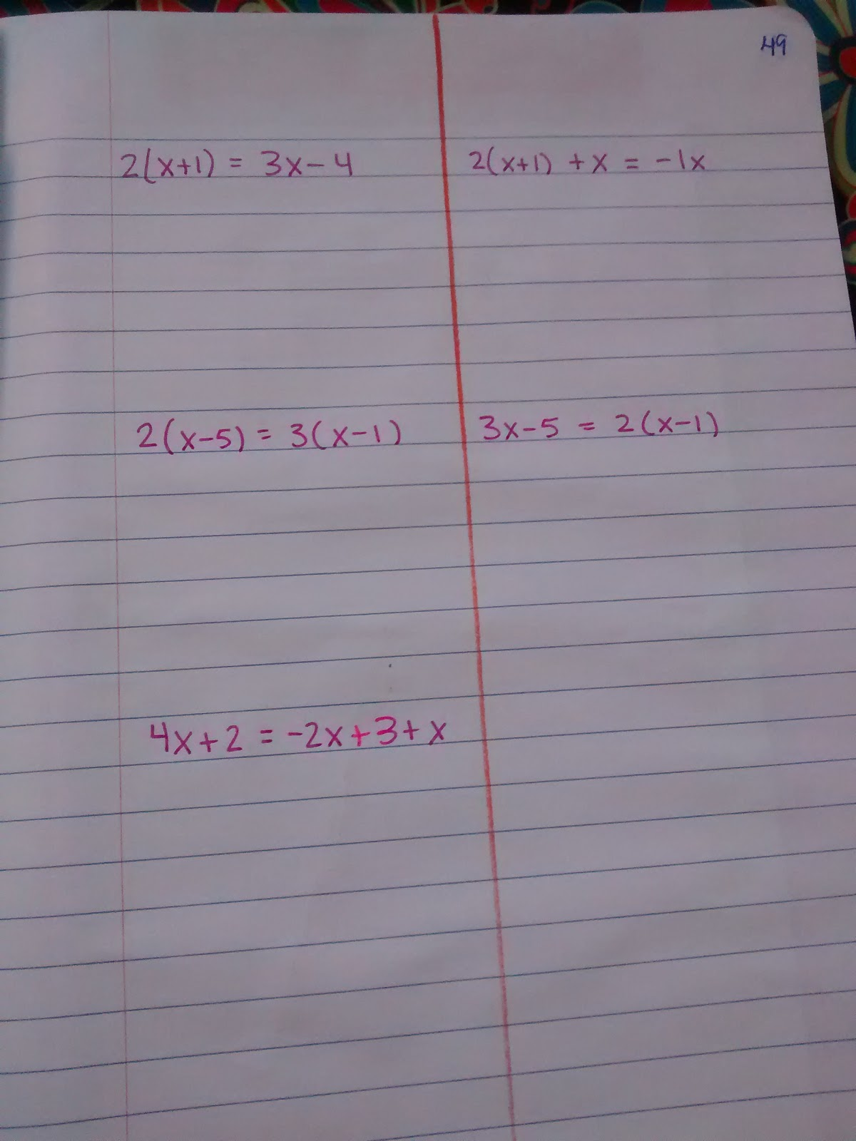Math Love Solving Equations With Variables On Both