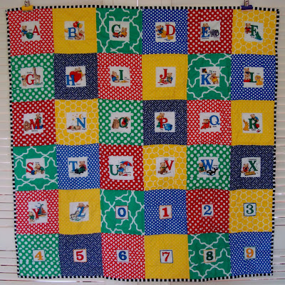 alphabet panel embroidery quilt