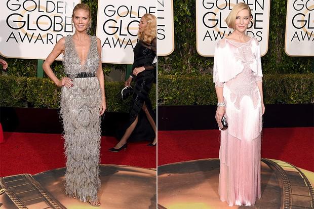 Heidi Klum e Cate Blanchett exibem seus modelitos com franjas no Globo de Ouro 2016 (Foto: AFP)