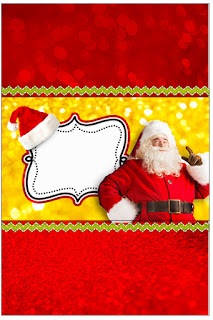 Santa in Red and Gold, Free Printable  Labels.