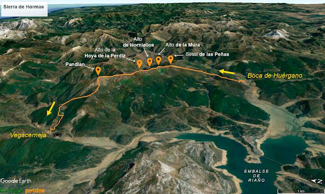 Mapa de la ruta a la Sierra de Hormas en la Montaña de Riaño