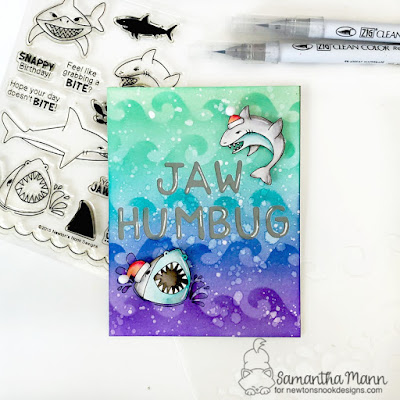 Jaw Humbug Card by Samantha Mann for Newton's Nook Designs, Jaws, Christmas, Cards, Distress Inks, Ink blending, stencil #newtonsnook #distressinks #inkblending #christmas #cards #sharks