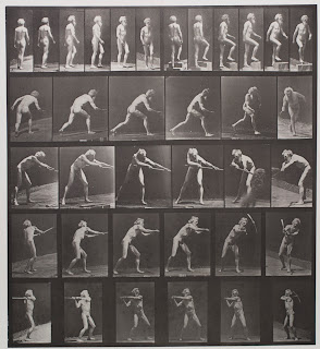 A series fo photographs of a nude man swinging a pickaxe.
