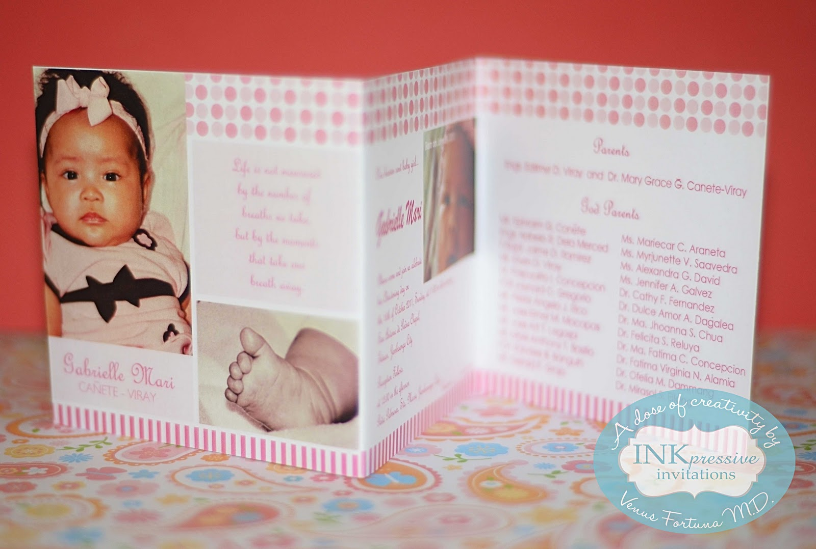 Christening Invitation Trifold Dots And Stripes