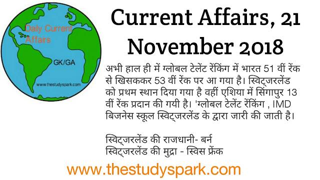 Current affairs 21 November 2018