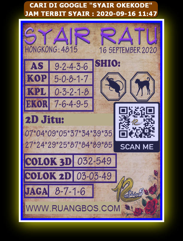 Kode syair Hongkong Rabu 16 September 2020 332