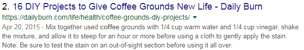 Seo search result of a raw snippet