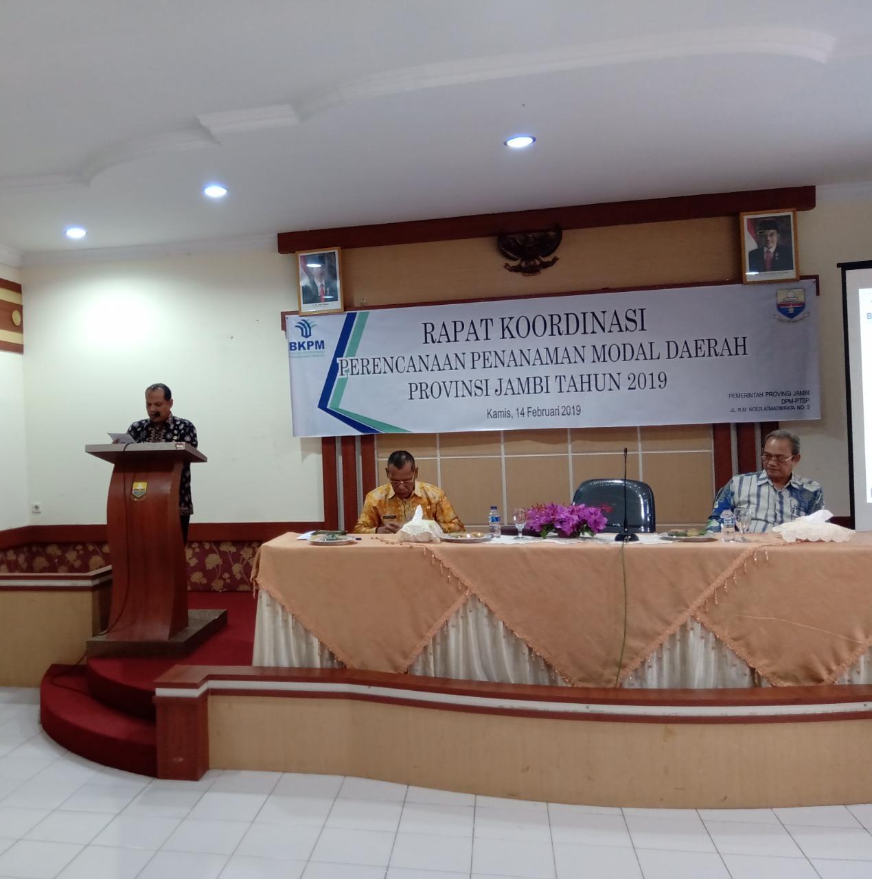 Asisten I Buka Secara Resmi Rakor Perencanaan  Penanaman Modal Daerah Provinsi Jambi.