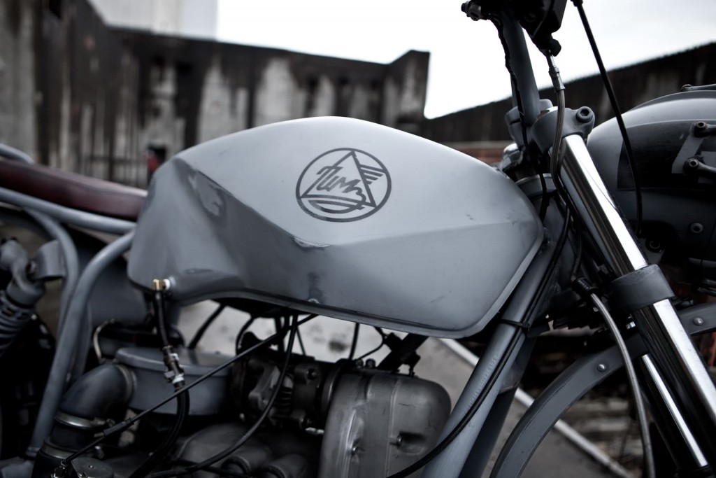 a custom gas tank on a Ural motorcycle