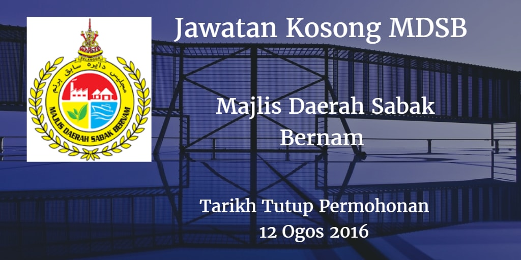 Jawatan Kosong MDSB 12 Ogos 2016