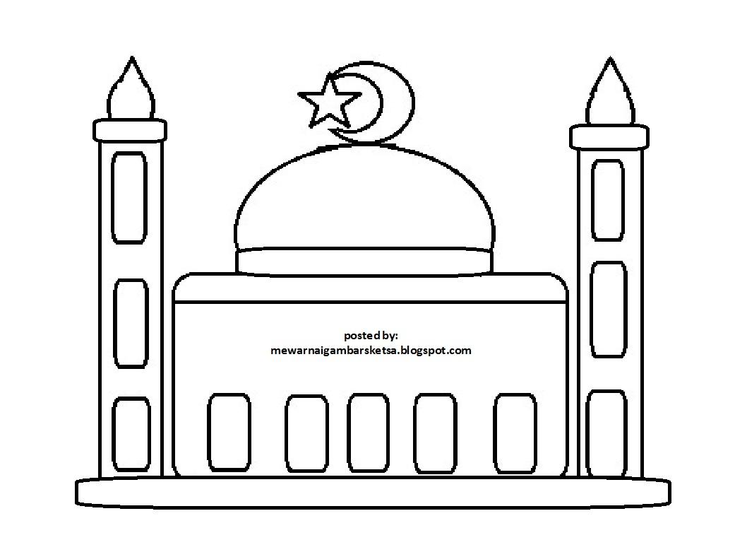 Mewarnai Gambar Masjid Untuk Anak Tk