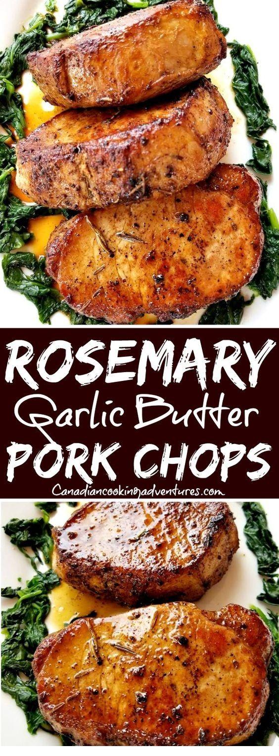 Rosemary Garlic Butter Pork Chops | Gloria food table