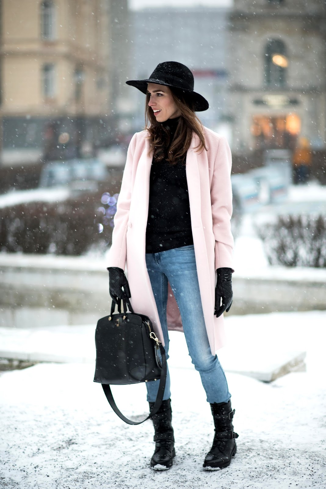 winter fedora hat outfit