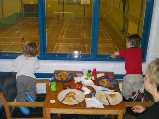 five-a-side football in sports hall, havant
