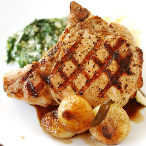 Grilled Pork Chops With Honey Glazed Cippolini