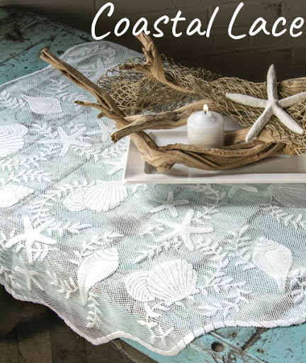 Coastal Lace Table Topper Cloth Sea Shell Pattern