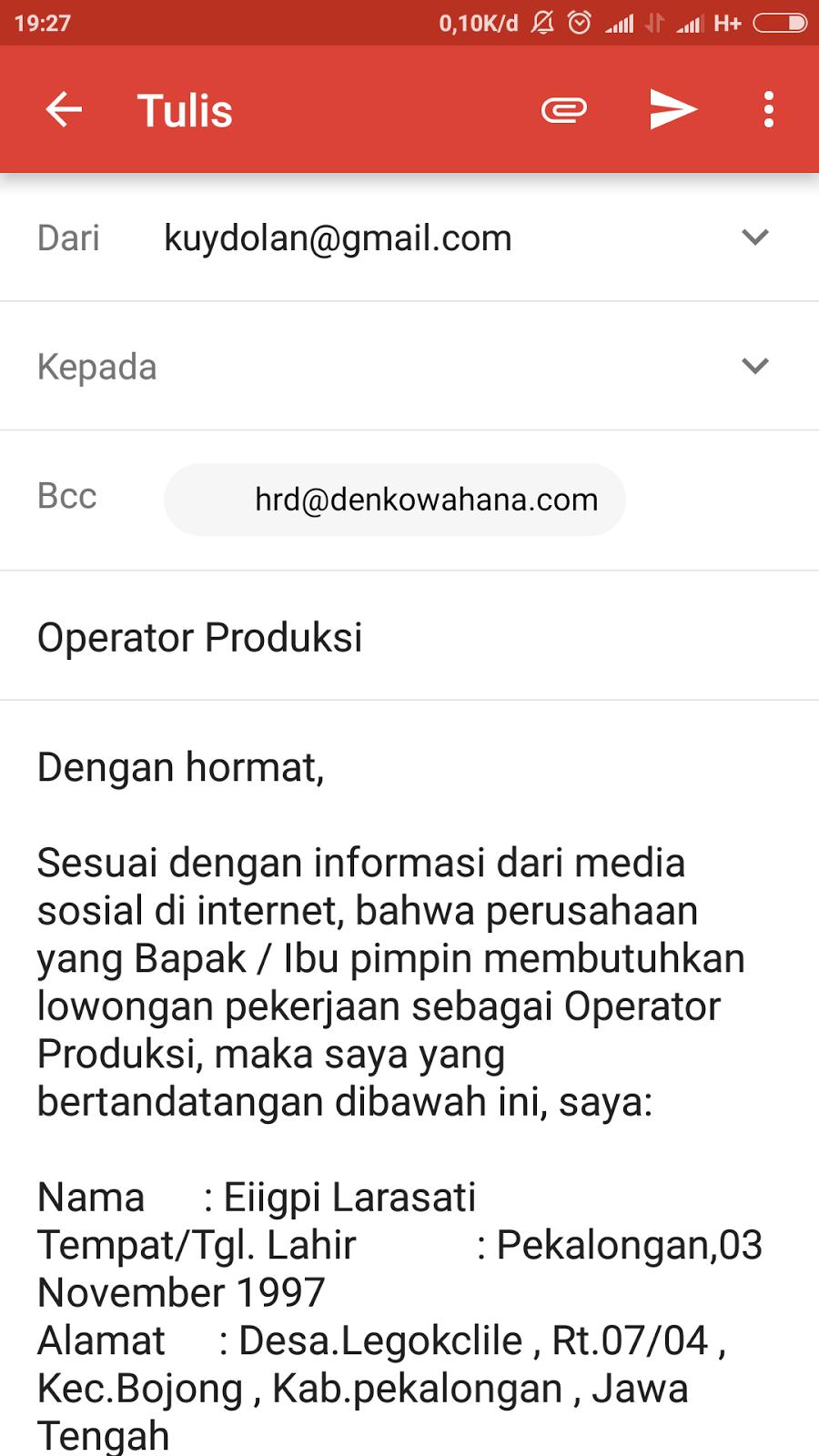 Contoh Surat Lamaran Kerja Untuk Posisi Operator Produksi